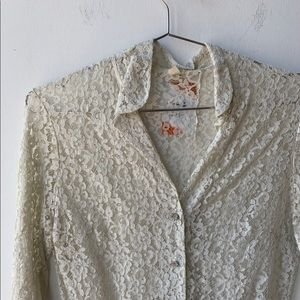 Tops - 50's Lace Button Up